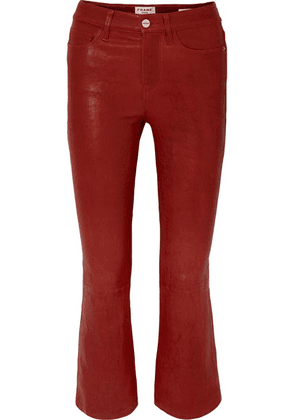 FRAME - Le Crop Mini Boot Leather Pants - Red