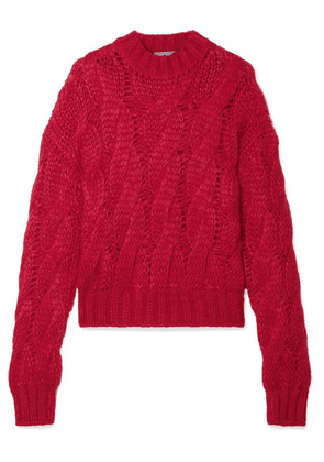Prada - Cable-knit Mohair-blend Sweater - Red