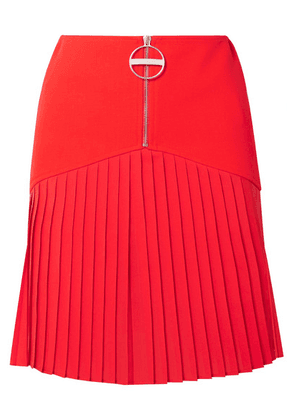 Givenchy - Pleated Silk-blend Chiffon-trimmed Wool Mini Skirt - Red