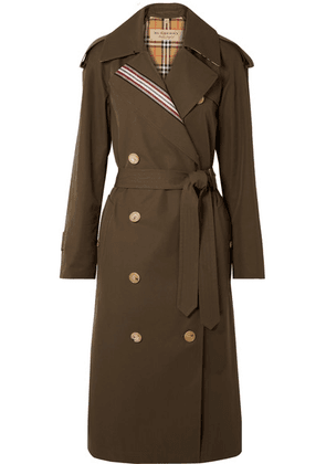 Burberry - Striped Cotton-gabardine Trench Coat - Army green