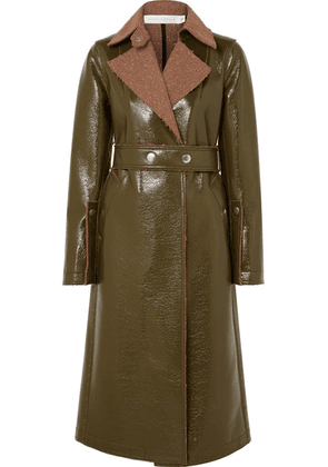 Victoria Beckham - Belted Coated Wool-blend Coat - Green