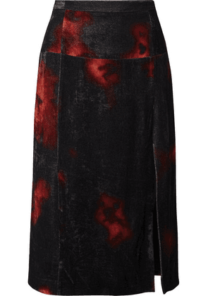 Altuzarra - Printed Crushed-velvet Midi Skirt - Black