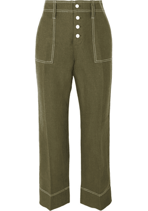 J.Crew - Foundry Cropped Linen Flared Pants - Green