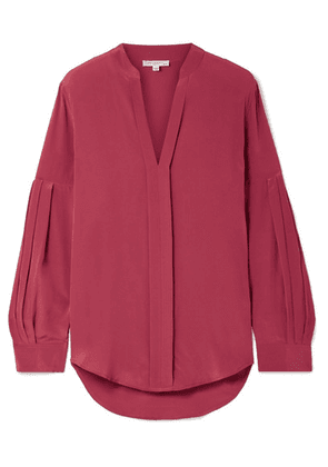 Equipment - Estella Pleated Washed-silk Blouse - Brick