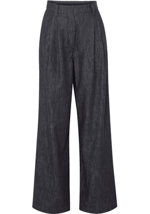 Brunello Cucinelli - Embellished Striped High-rise Wide-leg Jeans - Navy