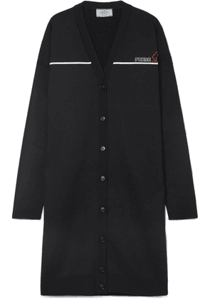 Prada - Oversized Intarsia Wool-blend Cardigan - Black