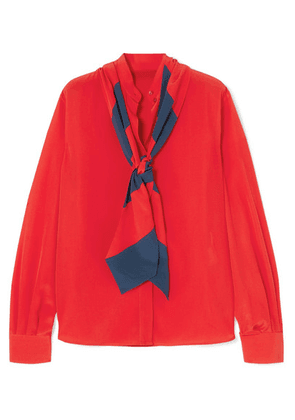 Givenchy - Pussy-bow Silk Crepe De Chine Blouse - Red