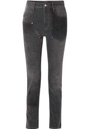 Isabel Marant - Orrick Paneled High-rise Slim-leg Jeans - Black