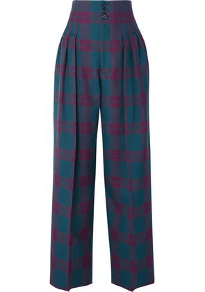 Marc Jacobs - Pleated Tartan Wool Wide-leg Pants - Purple