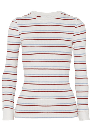 FRAME - Striped Ribbed Stretch-jersey Top - White