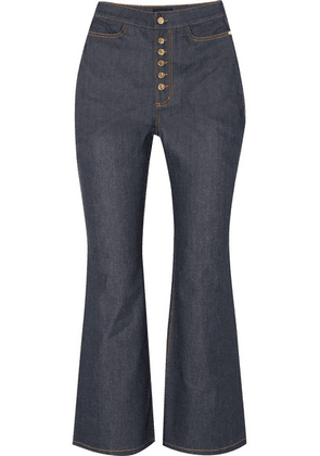 Ellery - Pyramid Cropped High-rise Flared Jeans - Indigo