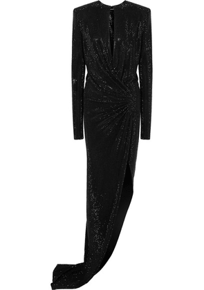 Alexandre Vauthier - Draped Embellished Stretch-georgette Gown - Black