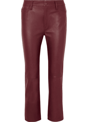M.i.h Jeans - Daily Cropped Leather Straight-leg Pants - Burgundy