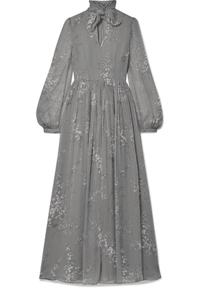 Co - Pussy-bow Floral-print Crinkled Silk-chiffon Maxi Dress - Gray