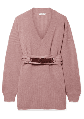 Brunello Cucinelli - Belted Ribbed Cashmere Sweater - Antique rose