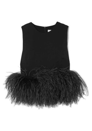 16ARLINGTON - Cropped Feather-trimmed Crepe Top - Black
