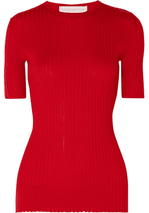 Victoria Beckham - Ribbed Cashmere Top - Red