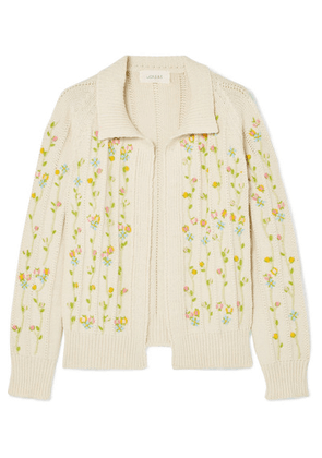 The Great - The Rose Bud Embroidered Cotton-blend Cardigan - Cream