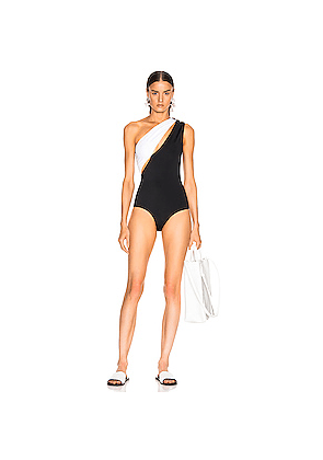 BALMAIN Asymmetric Shoulder Button Swimsuit in Black,White