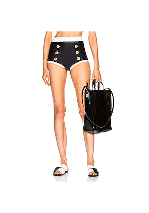BALMAIN High Waist Bikini Bottom in Black,White