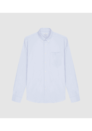 Reiss Ainslee Reg - Regular Fit Brushed Oxford Shirt in Soft Blue, Mens, Size XS