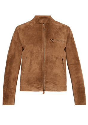 Berluti - Single Breasted Suede Jacket - Mens - Brown
