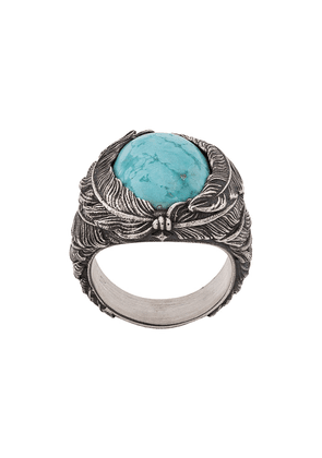 Nove25 feather stone ring - Silver