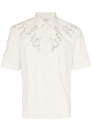Saint Laurent western-style short-sleeved embroidered cotton shirt -