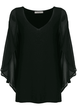 D.Exterior batwing sleeves blouse - Black
