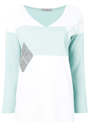 D.Exterior colour block jumper - White