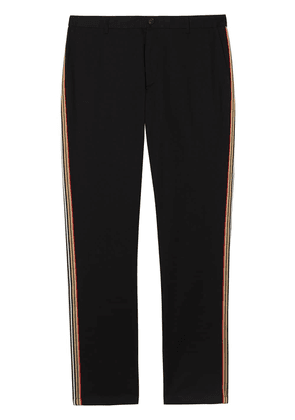 Burberry Slim Fit Icon Stripe Detail Cotton Chinos - Black