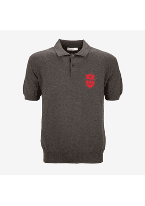 Bally Knitted Crest Polo Shirt Grey, Men's cotton and cashmere blend knit polo shirt in dark grey melange