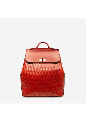 Bally Bahira Red, Women's quilted calf leather backpack in papavero