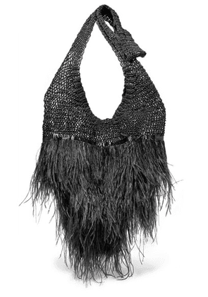 Johanna Ortiz - Volvemos Al Mar Feather And Satin-trimmed Macramé Shoulder Bag - Black