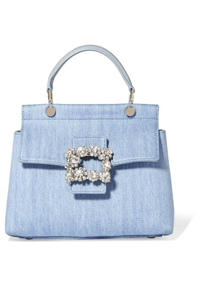 Roger Vivier - Crystal-embellished Leather-trimmed Denim Tote - Light denim