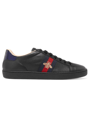 Gucci - Ace Watersnake-trimmed Embroidered Leather Sneakers - Black