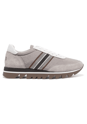 Brunello Cucinelli - Embellished Voile, Suede And Leather Sneakers - Gray