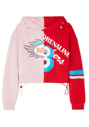Mira Mikati - Cropped Printed Cotton-jersey Hoodie - Baby pink
