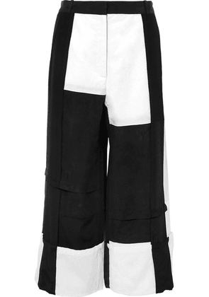 JW Anderson - Paneled Crepe De Chine, Cotton And Washed-satin Wide-leg Pants - Black