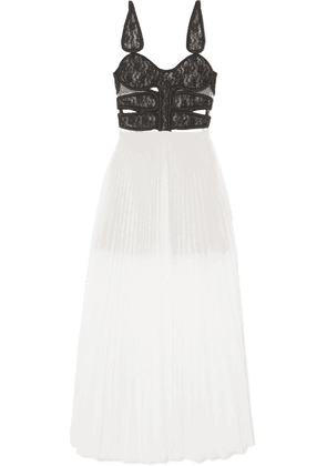 Christopher Kane - Lace And Pleated Chiffon Maxi Dress - Off-white