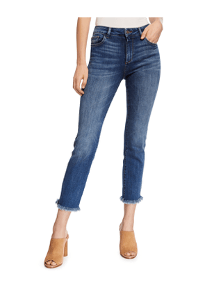 Mara Ankle Mid-Rise Straight Jeans with Metallic Stripes
