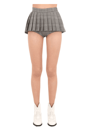 Pleated Wool Blend Shorts