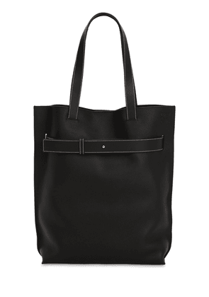 Strap Vertical Leather Tote Bag