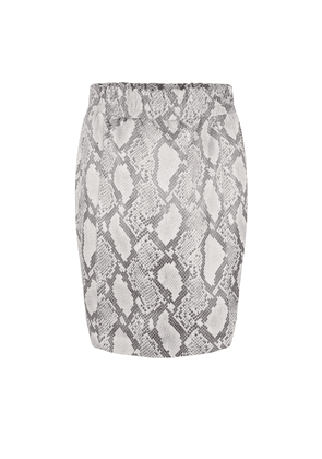 Eshvi Leather Skirt - Snake Taupe