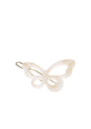 France Luxe Small Cutout Butterfly Tige Boule Barrette in Ivory.