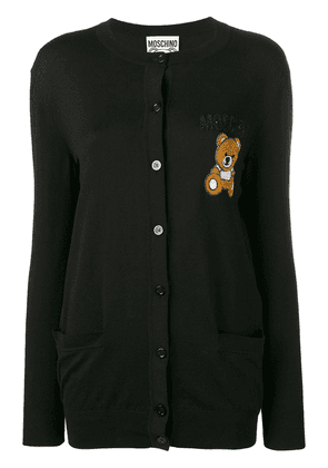 Moschino teddy applique cardigan - Black
