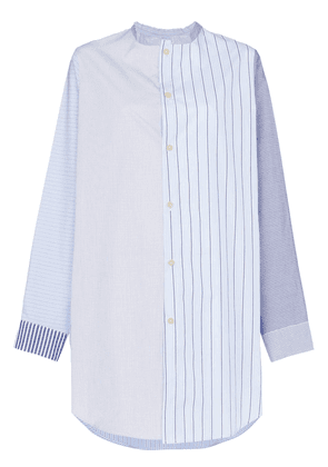 By Walid Ally stripe print panelled shirt - Blue