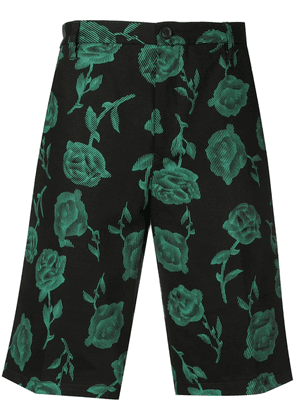Aries floral embroidered shorts - Black