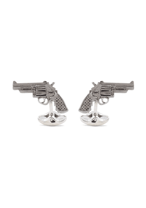 Moveable revolver gun cufflinks