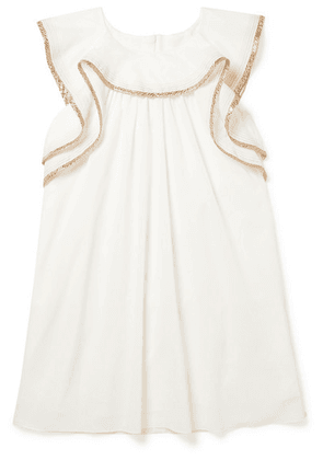 Chloé Kids - Ages 6 - 12 Metallic-trimmed Cotton Dress
